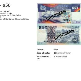 Singapore $50 Ship series Notes