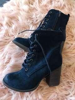 Velvet feel Navy lace boots