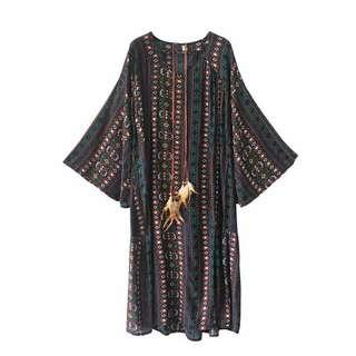 大碼沙灘裙波西米亞連衣裙女夏新款海邊度假裙子印花寬鬆長裙