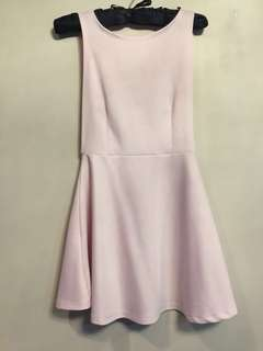 Low back baby pink skater dress
