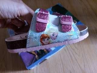 全新正版Disney Frozen Elsa Anna 女童涼鞋 拖鞋 16cm