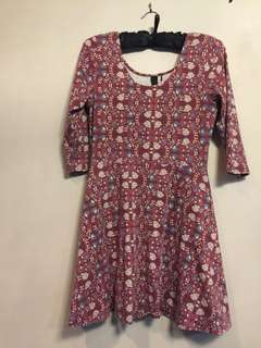 Vintage floral maroon dress