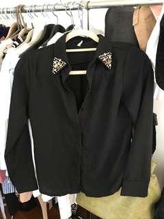 🚚 衣領氣質寶石襯衫