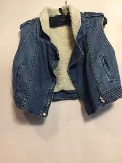 Wool coated cropped denim jacket