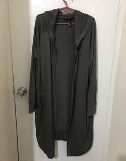 F21 Hooded Cardigan (Army Green)