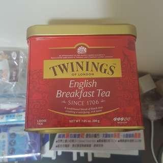 [父親節 母親節 禮物] Twinings of london 英式早餐茶 English Breakfast Tea 散茶 經典红茶 茶葉 200G 鐵罐裝 loose tea