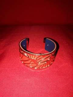 Les Georgettes Petales Gold Hardware Bangle Wristlet Authentic