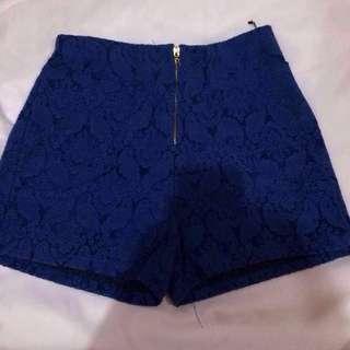 Blue High Waist Short