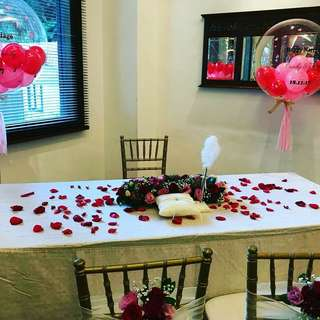 ROM ceremony balloons chairs and tables rental