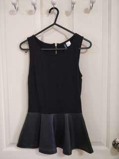 H&M Black Peplum Top - Size XS