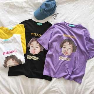 🛒夏季新品 韓國穿搭 韓國夏季可爱小孩頭像圖寬鬆短袖T