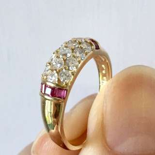 18k gold with ruby and diamond