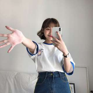 🛒夏季新品 韓國穿搭 韓版夏季拼色糖果色袖雞蛋短T恤