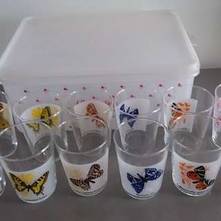 12 BRAND NEW GLASSWARE WITH BUTTERFLY DESIGNS FOR SALE AT S$10