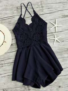 🚚 Navy lace up romper from shein