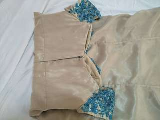 Beige Long Gown w/ blue beadings