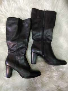 Black Leather Tall Heeled Boots - Size 7.5