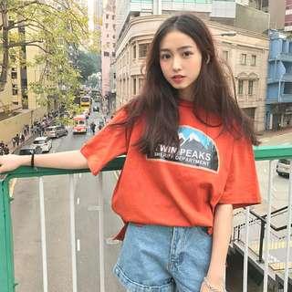 🛒夏季新品 韓國穿搭 韓版港風復古富士山印花橘色短袖T恤