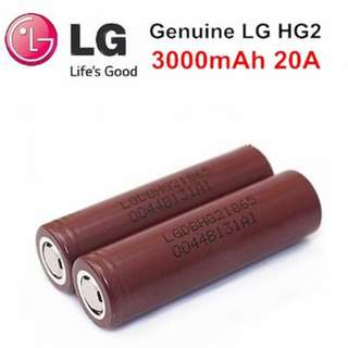 (20A, 3000mAh) LG HG2 18650 High Drain Li-ion Rechargable Battery - $12.90 Per Pc