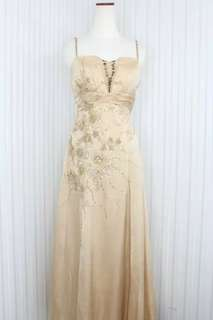Long dress/Gaun pesta Sateen sutra warna Gold simple dress kode 6525
