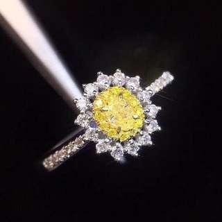 18K白金 黃鑽鑽石戒指