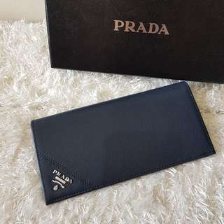 Authentic Prada Saffiano Vertical Bifold Card Wallet, in Navy Blue