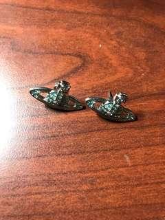 Westwood earring blue 淺藍石 耳環