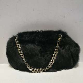 Marron Genuine Fur Two-way Clutch Bag/ Handbag