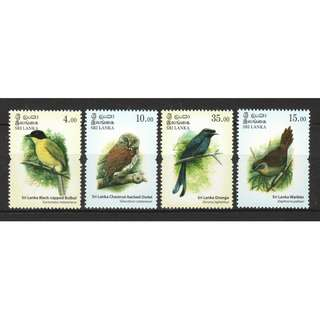 SRI LANKA 2017 ENDEMIC BIRDS OF SRI LANKA COMP. SET OF 4 STAMPS IN MINT MNH UNUSED CONDITION