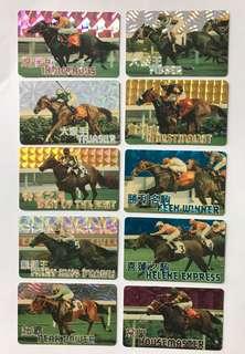 香港賽馬會99/00年發行之十大名駒閃咭一套(10張)
