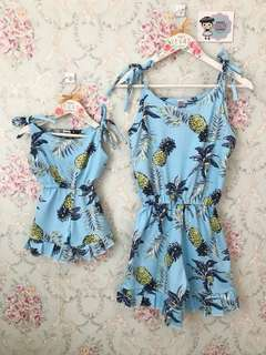 Mother and Daughter pineapple romper