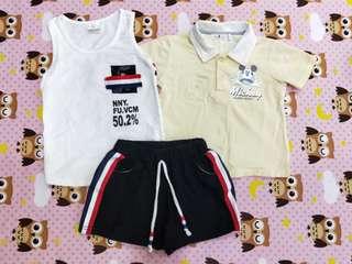 🚚 奇哥米奇polo衫+無牌背心套裝 皆一到兩歲可穿(合售)