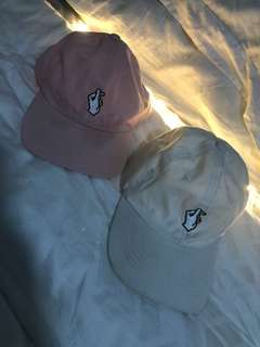 💓 heart finger caps in pink and white 💓