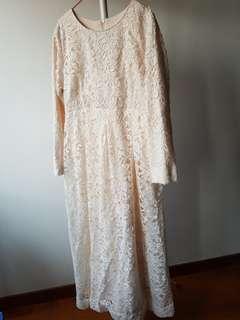 Pastel White Lace Dress