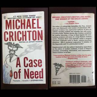 A Case of Need by Michael Crichton (Novel)