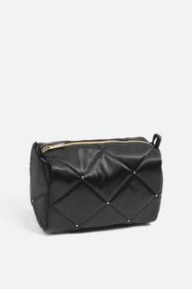 TOPSHOP black satin quilt make up kit pouch bag