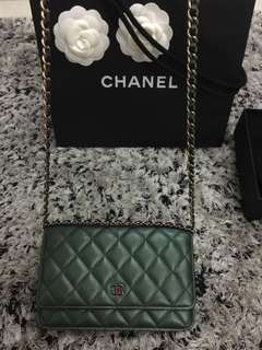 Chanel Iridescent Green WOC Square Waller on chain Rainbow
