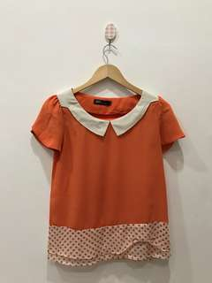 Blouse orange polkadot