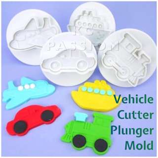 🚇4PCS TRANSPORTATION CAR VEHICLES CUTTER PLUNGER MOLD SET [Ship • Airplane • Train • Car ]  Cake Decorating Tool for Cookies • Fondant Cake & Cupcake • Bread Dough • Pastry • Sugar Craft • Jelly • Gum Paste • Polymer Clay Art Craft •