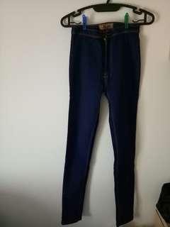Celana high waist dark blue