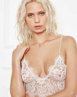White floral lace bralette lingerie (100% handmade)