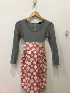 Dress abu pink polkadot