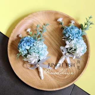 Wedding Corsage Blue Gatecrash Theme Bridesmaid Groomsmen Corsage