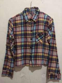 Flanel crop shirt