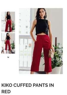 Fashmob kiko cuffed pants in red xs