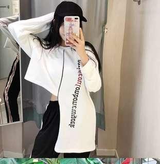 🚚 (特價)韓版個性女裝不規則露肚臍長袖T恤上衣