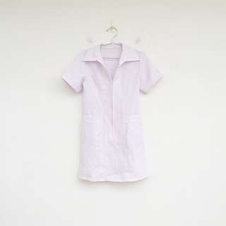 🚚 二手 護士小姐請幫我打針 白色 微彈性 護士服 洋裝 明太子 604