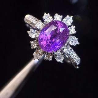 18K白金 無燒斯里蘭卡薰衣草色藍寶石鑽石戒指鑽石戒指