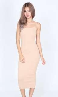 Bodycon midi dress (nude)
