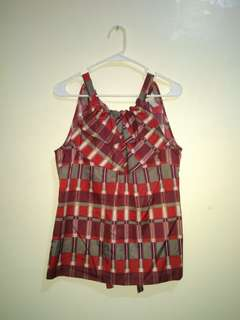 BANANA REPUBLIC Red plaid sleeveless